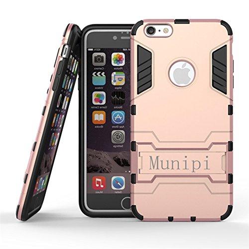 Munipi Schutzhülle für iPhone 6 / 6S / 6Plus / 6S mit Ständer, Hybrid Weich und stoßfest, strapazierfähig, inkl. Displayschutzfolie, plastik, Goldfarben, iPhone 6/6S (4.7) rose gold