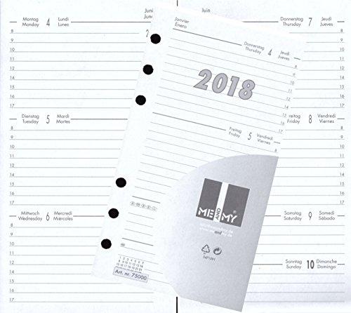 Kalendereinlage Kalender 2018 A6 für Timer Terminer Zeitplaner 1 Woche=2 Seiten 75000