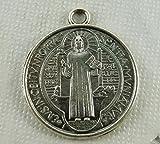 Fengh Cruz medalla San Benito medalla DIY Joyería materiales (antiguo plateado)
