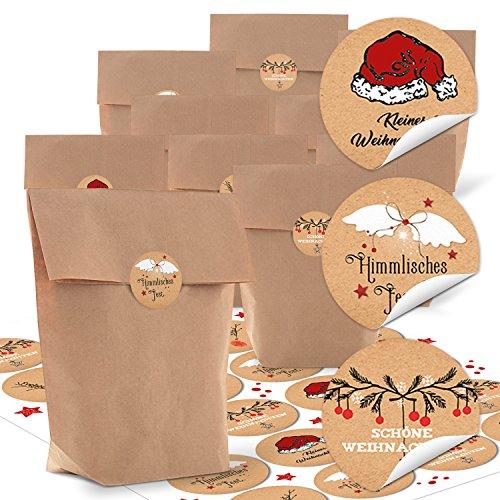 24 kleine braune Papier-Beutel mit Boden 16,5 x 26 x 6,6 cm + 24 runde Weihnachts-Aufkleber mit Text 4 cm schwarz rotweiß Verpackung Weihnachten Geschenktüten weihnachtlich Tüten Papiertüten