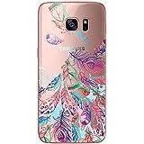Galaxy S7 NOVAGO® Coque transparente souple ultra slim et solide avec impression pour Samsung Galaxy S7- Plumes colorées 2
