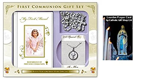 First Holy Communion Gift Set Girls CHALICE NECKLACE, Rosary, Missal & Lourdes Prayer Card