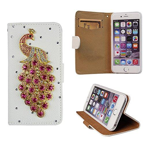 xhorizon® Premium Leder Tasche Flip 3D Blinkend Strass Diamant Kristall Stand Brieftasche Case Hülle für iPhone 4/4s/5/5s/6/6+ Plus Samsung GALAXY S3/S4/S5/Note2/Note3/S3 Mini/S4 Mini Rosa Pfau