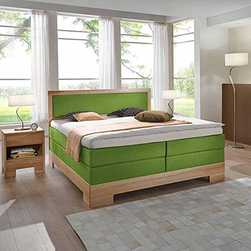 Pharao24 Design Boxspringbett in Grün Stoff Breite 180 cm Liegefläche 180x200