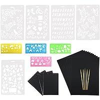 Wartoon 50 hojas Rainbow Scratch Art Paper Magic Painting Papers Scratch Boards con una sola pieza Palillos Stylus de madera 10 reglas de pintura
