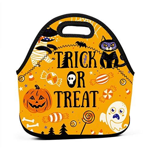 Kinder Lunchtaschen für Mädchen, Trick oder Leckerlis, Halloween, günstige Taschen für Frauen, 3D-Druck, Lunchbox, Lebensmittelbehälter, Picknick-Tasche, Handtasche