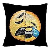 Proco® Sequin Kissenbezug | Emoji Suquin Kissenbezug mit Wechselbaren Emoji DIY Deko Für Sofa, Home, Dekoration, Schlafzimmer, Dekokissen (Lachen & Müde Emoji)