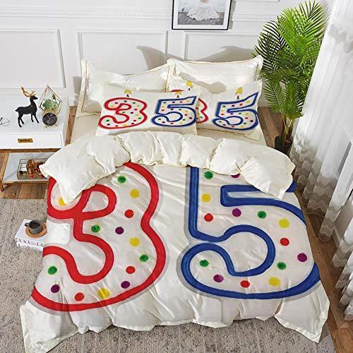 t, Mikrofaser, 35. Geburtstag Dekorationen, Überraschungsparty Event Objekte Anzahl Kerzen Alter fünfunddreißig, Blau Rot Weiß,1 Bettbezug 220 x 240cm + 2 Kopfkissenbezug 80x80cm ()