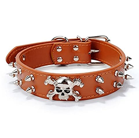 Pet PU rivets réglable Tête de mort Tête de chien Chaîne Bague Collier à pointes en cuir clouté Collier de chien pour animaux domestiques de petite ou moyenne