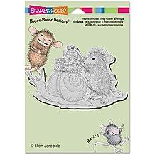 """Stampendous House ratón """"caracol correo"""" se aferran sello, acrílico, multicolor, de 6,5pulgadas x 4.5pulgadas, 2piezas"""
