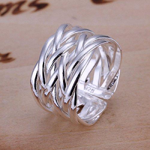joyliveCY-Anillo elegante y moda para mujer, chapado en plata de ley 925, dise?o trenzado abierto y ancho
