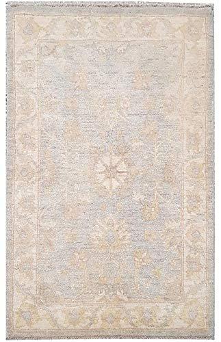 Smart Deal Traditionelle handgeknüpfte Moderne Chobi Area Rug grau/beige Farbe 100% Wolle Perserteppiche Größe (74 x 122) -