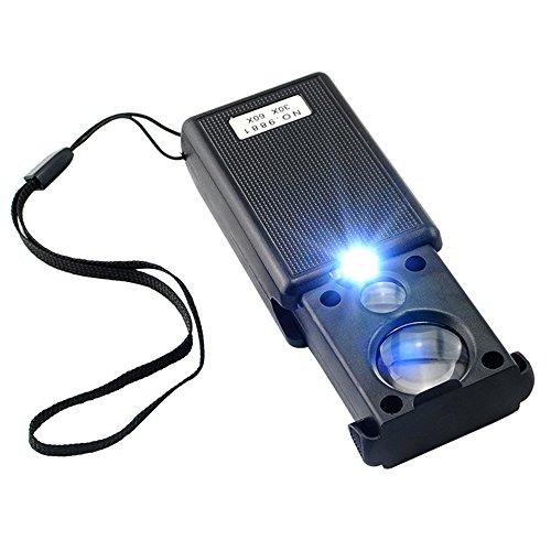 Carejoy Glas Lupe Eye Lens - Beleuchtete Dual-Lupe 30 X - 21 MM und 60 x - 12 mm mit LED-UV-Licht - Ideal Juweliere Lupe oder Währung Detektor Tasche Mikroskop mit Lampe