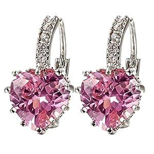 Contever® Rosa Boucles d'oreille Charm Brillante Coeur Cristal Pour Les Femme