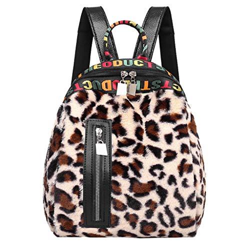 Yazidan Damen rucksack Frauen Cord Leopard Print Schultasche Rucksack Satchel Reise Umhängetasche Damen Leopard Zipper Messenger Bag Tote Rucksack -