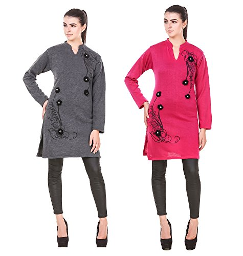 Komal Trading Collection Casual Solid women darkgrey/rpink & multicolor Stylish 17 inches...
