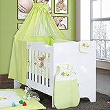 Bettset Baby Bettwäsche Himmel Nestchen Schleife mit Stickerei 100x135 Neu, Modell:Sleeping Bear Grün