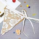 Wimpelkette Hochzeit Jute Girlande Sackleinen Schöne Spitze Dreieck Flagge Wimpel Burlap Flach Wimpelkette Fahnen Bunting Girlande für Geburtstag Hochzeit Party Dekoration ca.3M
