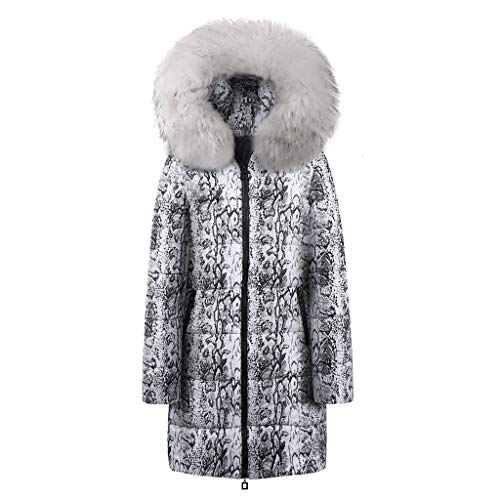 BOLANQ Plüschmantel Mantel, Damen Winter Long Down Cotton Snake Print Parka Kapuzenmantel Jacke Outwear(Medium,Weiß)