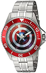 Marvel Mens Captain America Quartz Stainless Steel Casual Watch, Color:Silver-Toned (Model: WMA000008)