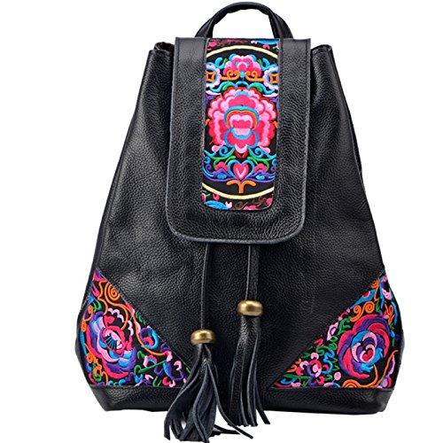 Vento nazionale ricamo genuine Borsetta donna moda corrente di borsa Borsa Zaino da viaggio, nero Black