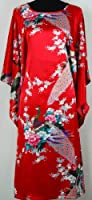 Shanghai Tongue® Peacock Nightgown Kimono Sleepwear Gown Red One Size
