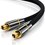 CSL - 5m HQ Platinum Toslink (optisch/digital) Kabel (S/PDIF Audio Kabel) | Aluminium Stecker / vergoldete Kontakte / Nylonummantelt | LWL Lichtwellenleiter | Home Entertainment / HiFi / TV / Konsolen / Media Center | 5,0 Meter