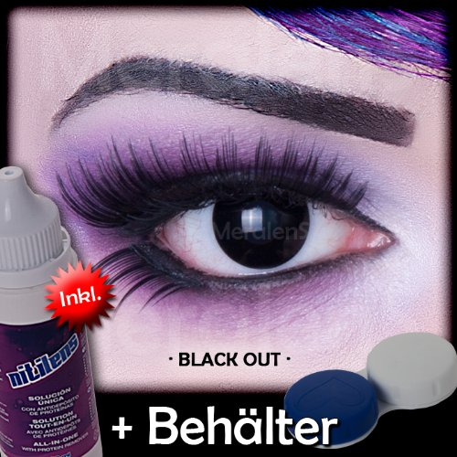 Meralens A0207 Black Out Kontaktlinsen mit Pflegemittel mit Behälter ohne Stärke, 1er Pack (1 x 2 (Haloween Perücke)