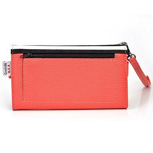 Kroo Pochette Téléphone universel Femme Portefeuille en cuir PU avec dragonne compatible avec Sony Xperia//E3Dual Violet - violet Multicolore - Orange Stripes