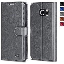 OCASE Samsung Galaxy S7 Hülle Handyhülle Samsung Galaxy S7 [Premium Leder] [Standfunktion] [Kartenfach] [Magnetverschluss] Leder Brieftasche für Galaxy S7 Grau