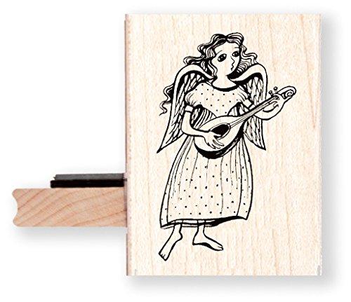 Engel mit Mandoline Gummi Stempel–br023K