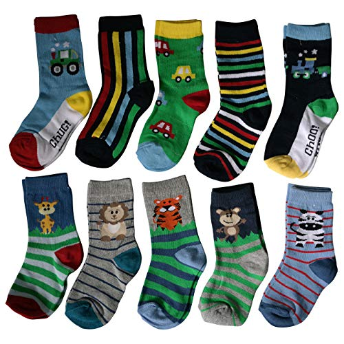 Lieblingsstrumpf24 10er Pack Socken Kinder Jungen Mädchen Baumwolle Öko-Tex Standard 100 (23-26 (98-104), Trecker-Tier Mix)