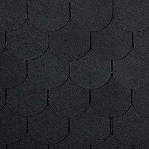 Bitumen Dachschindeln Biber schwarz 21 Stück (für 3m² Dachfläche) Dach Bitumenschindeln Dach Ziegel Abdichtung