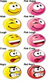 A PACK OF 5 VARIOUS PINK SMILEY GOLF BALL MARKERS. BY ASBRI GOLF