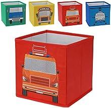Juego de 4caja caja caja caja para guardar Estantería Cajas Niños Kids Niño Niños Auto Front Autobús escolar helicóptero Heli