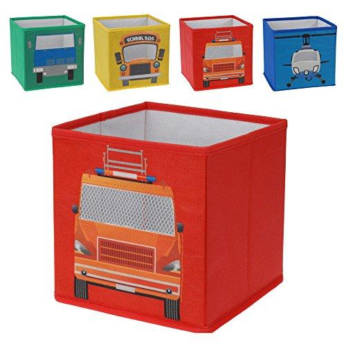 Set di 4scatola portaoggetti contenitore a Box baule contenitore porta SCATOLE bambini Kids giovani Jungs auto Bus scuolabus elicottero Heli