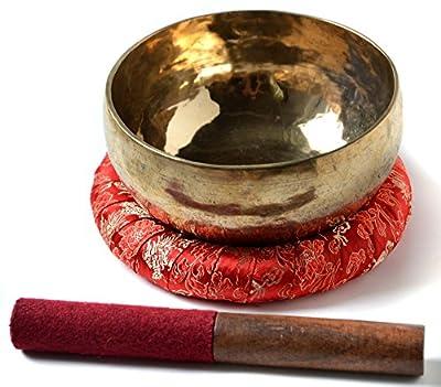 BUDDHAFIGUREN/Billy Held Klangschale glänzend handgearbeitet mit Zubehör