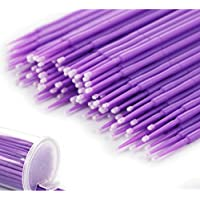 Rocita Microcepillos aplicadores,Desechable Micro Cepillos,Herramientas de Maquillaje para extensión de la pestaña(violado/100pcs)