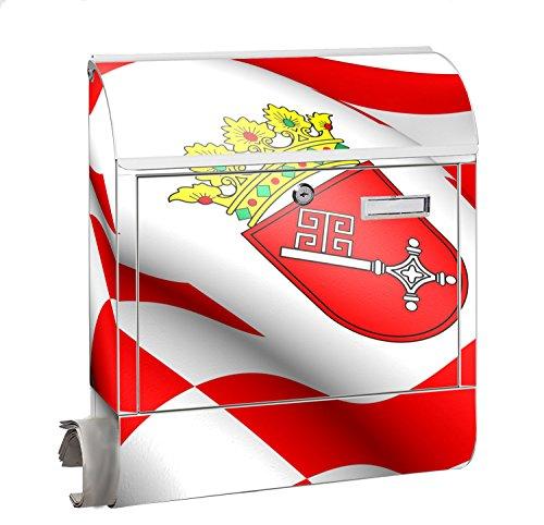 Design Motiv Briefkasten Maxi mit Zeitungsfach Zeitungsrolle für A4 Post slk shop Groß Flagge Bremen