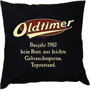 Kissen mit Innenkissen - zum Geburtstag - Oldtimer Baujahr 1982 - kein Rost, nur leichte Gebrauchsspuren, Topzustand. - mit 40 x 40 cm - in schwarz : )