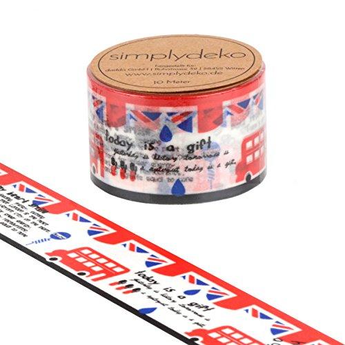 Simplydeko Washi Tape - Masking Tape 30 mm breit - Wundervolles Washitape Bastel-Klebeband aus Reispapier - London XXL (Klebeband London)