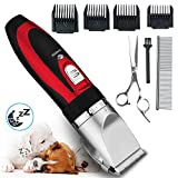Pet Grooming Clipper Kits Low noise Oneisall Dog and Cat Rechargeable Cordless Electric Queit Clippers Set Red