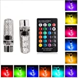 EASY4BUY 2PC T10 LED RGB Canbus Car Interior Fancy Side Wadge/Parking Remote Control Light