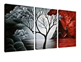 Wieco Art - The Cloud Tree Large 3 Panels Modern Stretched and Framed Giclee Canvas Prints Abstract Seascape Paintings Reproduction Sea Beach Pictures on Canvas Wall Art for Bedroom Home Decorations - Wieco Art - amazon.co.uk