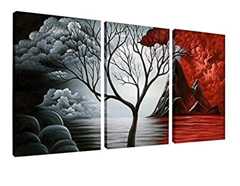 Wieco Art - The Cloud Tree Large 3 Panels Modern Stretched and Framed Giclee Canvas Prints Abstract Seascape Paintings Reproduction Sea Beach Pictures on Canvas Wall Art for Bedroom Home