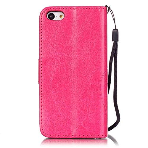 SainCat Apple iPhone 5c Custodia in Pelle,Anti-Scratch Protettiva Corpertura Caso Custodia Per iPhone 5c,Elegante Creativa Dipinto Pattern Design PU Leather Flip Ultra Slim Sottile Morbida Portafoglio Fiore di farfalla,Rose rossa