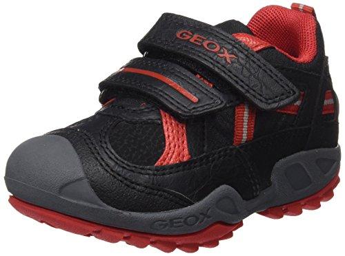 Geox J New Savage Boy A, Basses garçon Noir (Black/red)