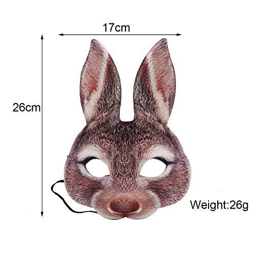 WanTo 3D Party Animal realstic Eva schwarz und weiß Erwachsene Anime Gesicht Cosplay Maskerade Bunny Ohren Kaninchen Maske, 3