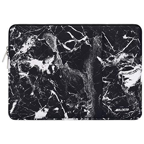 MOSISO Laptophülle Kompatibel mit 13-13,3 Zoll MacBook Air, MacBook Pro, Notebook Computer, Polyester Wasserabweisend Vertikale Stil Sleeve Hülle Schutzhülle Laptoptasche, Schwarz Marmor