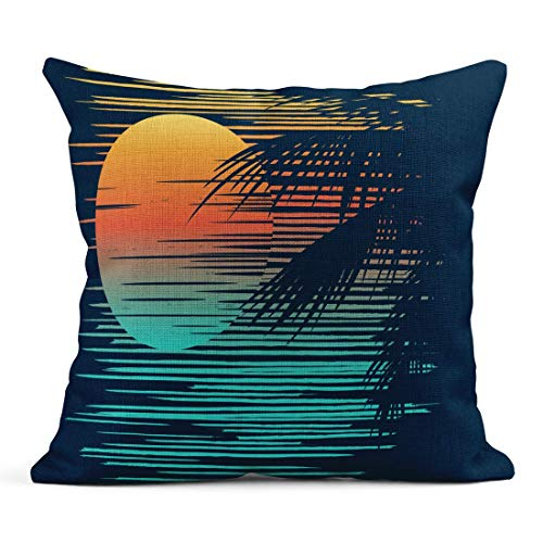 WBinHua Zierkissenbezüge, Throw Pillow Covers, Decor Flax Case Orange Hawaii Sunset on Tropical Beach with Palm Tree Sun Evening Sea Paradise 18
